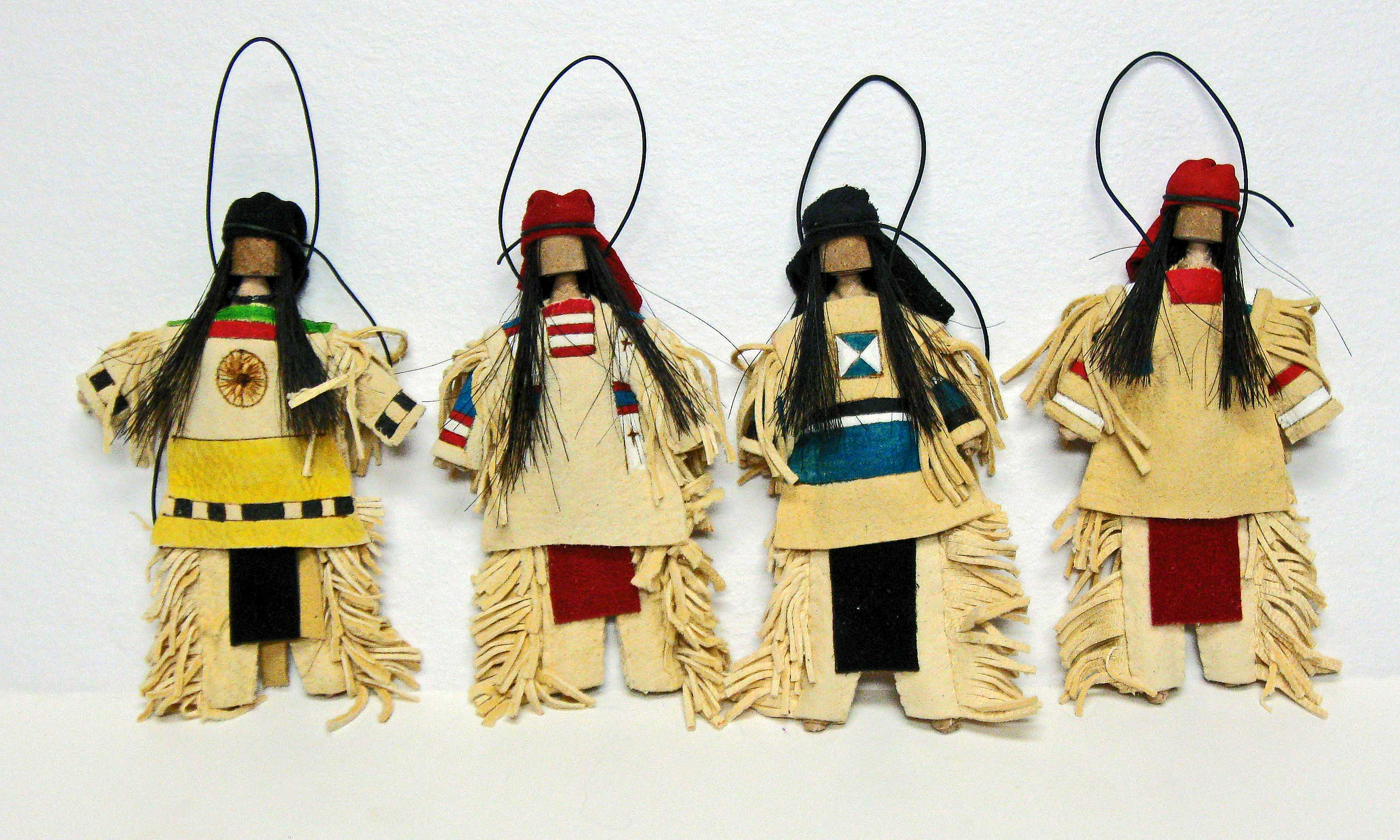 Native american ornaments - Imitation Brain Tan Leather Has Been Painted And Handsewn To Create One Of A Kind Ornaments Hair Is Out Of Horse Hair And Wrapped With Leather Wraps