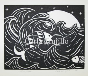 print - linocut - flying fish 10-2008 copy